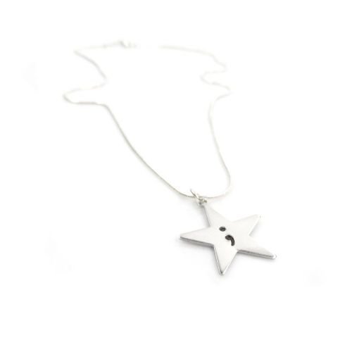 Hand Stamped Necklace with an Inspirational Semicolon Star Pendant – Gift Boxed & Free Delivery UK